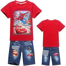 Kids Girls Boys Spider-man&Cars T-Shirt+Denim Shorts Suits Outfits  2-8 Years
