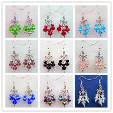 Beautiful Faceted Mixed Color Crystal & Tibetan Silver Earrings XLZ-238