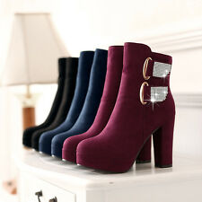 Womens Ladies Comfort Thick High Heels Rhinestone Shoes Ankle Boots US CHH284