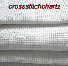 WHITE 14 COUNT AIDA FABRIC 100% COTTON FOR CROSS STITCH VARIOUS SIZES AVAILABLE