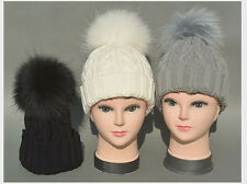 Fashion new women raccoon fur 18cm pompom knit beanie warm bobble hat