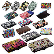 Metal Aluminum Business ID Credit Card Case Wallet - Colorful flowers ED