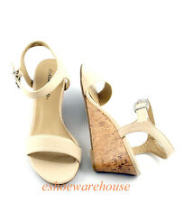 Nude Beige Cotton Summer at Ease  Low Mid Wedge Single Band Sandals Shoes