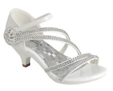 New women's shoes evening rhinestones velcro med heel wedding prom formal white