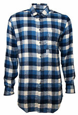 Mens Signature Flannel Blue White Check Flannel Shirt