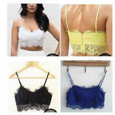 Women's Sexy Lace Floral Strappy Bralet Bra Bralette Bustier Crop Top Cami Tank
