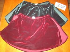 NWT STARS GIRLS / WOMEN'S DANCE VELVET SKORT w / FULL SLIT in GREEN or BURGANDY