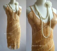 Great Gatsby 1920s Sequins Vintage Fringe Sway Flapper Gold Sexy Dress