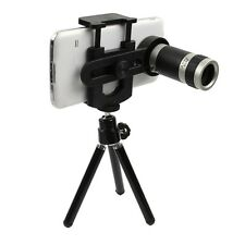 8x Zoom Universal Camera Lens Telescope + Mobile Phone Mount Tripod Stand Holder