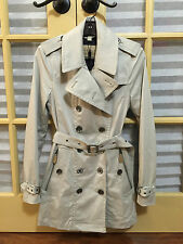 BURBERRY BRIT Women Double-Breasted Trench Jacket Coat Heritage Grey 8US 8 S M