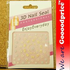 3D Nail Art Seal Beautiful Flowers Nail/Toe Stickers Pack Party&Ladies Gift 1-17