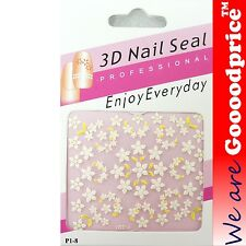 3D Nail Art Seal Beautiful Flowers Nail/Toe Stickers Pack Party&Ladies Gift 1-8