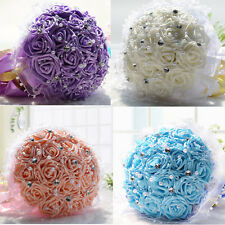 New Rose Crystal Pearl Silk Bridal Bouquet Bridesmaid Flower Wedding Decoration