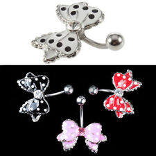 Cute Bow with 4 Colours Polka Dots No-Dangle Belly Ring Bar Navel Ring UK Seller