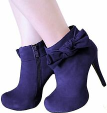 New women's shoes ankle boots fashion suede like side zipper heel royal blue