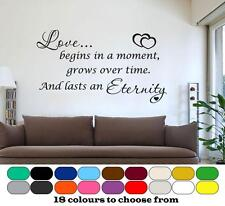 Love Begins In A Moment - Inspirational Quote - Wall Art Sticker Vinyl decal