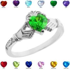 925 Sterling Silver Claddagh Birthstone CZ Ring