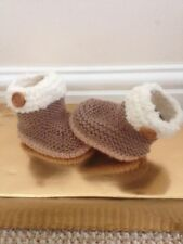 Hand knitted Baby Booties shoes boots slippers newborn 0-3 3-6 6-9 months beige