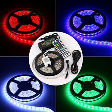 5M RGB 300/150 3528/5050 SMD LED Strip lights 24/44key Remote 5A/2A Power Supply