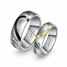 "Lovers' Matching Heart Tungsten Carbide ""Real Love"" Men's Women's  Wedding Rings"