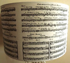 Musical Score Decoupage lampshade script french country shabby chic black white