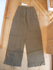 TOAST KHAKI BROWN OLIVE SLUBBY LINEN TAILORED  WIDE LEG TROUSERS T6XT 8 T6WT 18