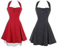 VINTAGE POLKA DOT SPOTTY PRINTED 50'S ROCKABILLY COCKTAIL PROM DRESS UK 8-12
