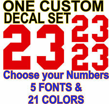 CUSTOM NUMBERS Decal Set BMX Football Baseball Hockey Helmet Sticker 21 COLORS