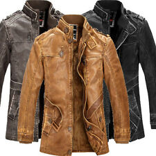 Retro Outdoor Mens Cowboy Winter Trench Coat PU Leather Motorcycle Jacket Parkas