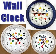 WALL CLOCK made w/ Licensed M&M Decals Blue Green Red Yellow Brown Candy NEW
