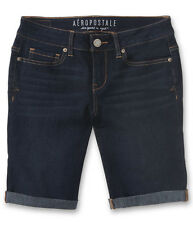 aeropostale womens dark-wash denim bermuda shorts