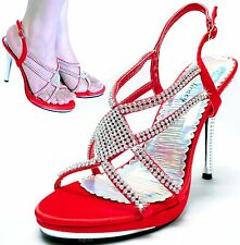New women's shoes stilettos open toe rhinestones party formal wedding prom red