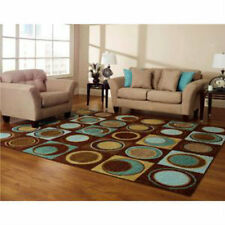 NEW BLUE TURQUOISE BROWN AQUA Geometric AREA RUG CIRCLES RING Room Bedroom Decor