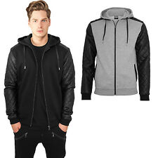 URBAN CLASSICS Men's Zip Hoody Hooded Jacket Quilt pattern Faux leather TB824