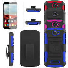 FOR ALCATEL One Touch Fierce 2/7040T Hybrid Case Cover Clip Holster Armor + film