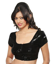 Dazzling Black Sequined Party-Wear Saree Blouse Sari Top