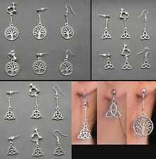 Celtic Pagan Tree of Life Triquetra Earrings Hypo-allergenic Tibetan Silver Gift