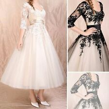 Lovely White/Ivory Scoop Cap Sleeve Tea Length Lace Vintage Wedding Dresses Gown