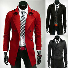 PROMOTION Stylish Slim Fit Mens Trench Coat Double Breasted Peacoat Long Jacket