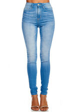 NEW Women's Faded Blue Wash Stretch Denim High-Rise Fitted Skinny Jeans