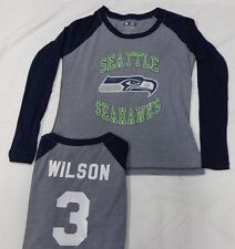 Seattle Seahawks Football Russell Wilson Ladies Long Sleeve Raglan T-Shirt