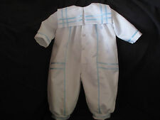 Baby Boys White Satin Christening Romper/ Baptism Outfit  Size NB  3 6 12 Months