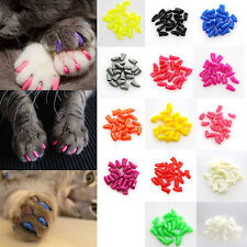 20pcs Multi Size/Color Soft Pet Cat Paws Grooming Nail Claw Cap+Adhesive Glue