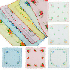 Lot 12Pcs Women Child Cotton Flower Vintage Handkerchiefs Quadrate Hankies E new