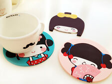 Cute Girl Silicone Rubber Drink Coaster Cup Mat Pad for Mug Glass Plate
