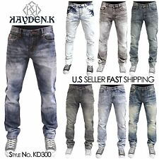 "KAYDEN K Mens Acid Washed TAPERED FIT Jeans Pants Size 30~40 Length 30"" 32"" 33"""