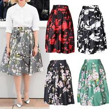 Vintage Dresses Floral Print High Waist Pleated Midi Skirt Ball Gown Swing Skirt