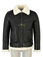 Mens B3 Classic Brown WW2 Shearling Sheepskin Aviator Bomber Leather Jacket