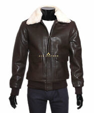 A2 Classic Bomber Brown Men's Fur Colar Vintage Aviator Cowhide Leather Jacket