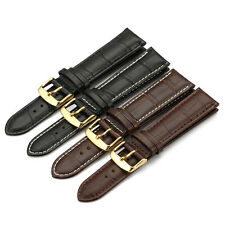 12mm-24mm Alligator Grian Genuine Leather Watch Band Strap Golden Tone Buckle 20